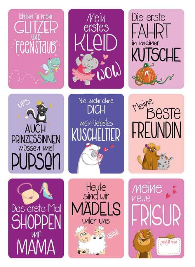 Mädchen Meilensteinkarten Glückswolke